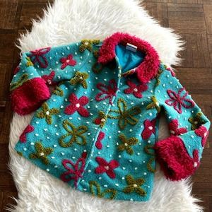 Hanna Andersson Girls 110 5 Jacket Fuzzy Floral